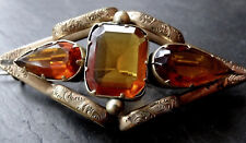 antique Victorian GOLD plate amber citrine paste rhinestone brooch c pin -A424