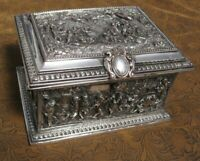 Antique French Silver Jewelry Box Casket AB Paris 19th Century 1880 RARE