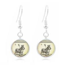 Bulldog photo glass Earrings Art Photo Tibet silver Earring Jewelry #72