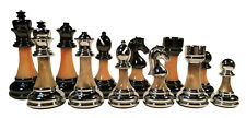 """Staunton Resin Weighted Chess Pieces - Metal & Marbled Acrylic wrap - 3.5"""" King"""