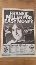 FRANKIE MILLER Easy Money (HMV) 1980 UK Poster size Press ADVERT 16x12 inches