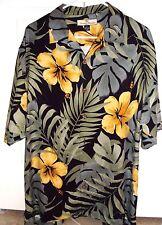 Tommy Bahama Medium  Black & Gold Hibiscus Short Sleeve Hawaiian Silk Shirt
