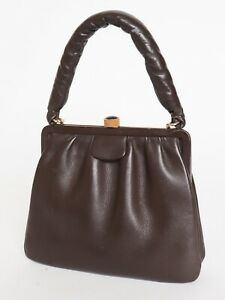 Vintage Handbag 1950s 1960s Leather Top Handle Structured Bag Small
