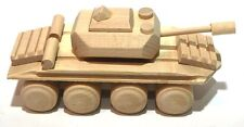 Handmade Wooden toy tank military natural wood decoupage ecological