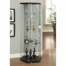 Glass Curio Cabinet Center Pole Contemporary Hexagon Display Storage Furniture