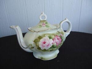 vintage antique musical porcelain floral teapot pink roses