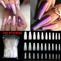 100Pcs/Bag Fake Nails False Nail Tips Long Coffin Beauty Tools Manicure UV Gel