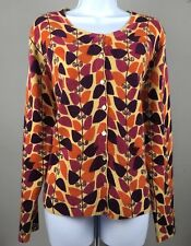Christopher & Banks Button Down Cardigan Sweater Multi Color Leaves Size XL