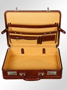 Men Hard Expandable Briefcase Genuine Leather Vintage Style Attache Doctor Bag