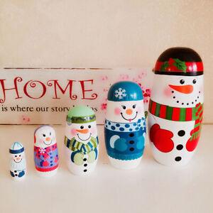 5Pcs/Set Christmas Snowman Russian Wooden Matryoshka Nesting Dolls Kids Toy Gift
