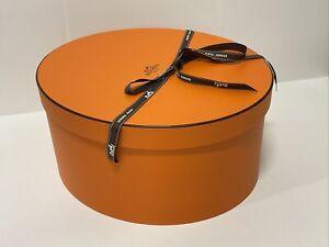 "New HERMES XL Oval  Storage Hat Gift Box W/Ribbon 13""x11.25""x6.5"""