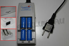 4 PILES ACCUS RECHARGEABLE CR123A 16340 3.7V 1200mAh + CHARGEUR TR-001 TRUSTFIRE