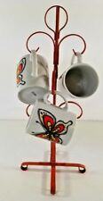 VTG Metal Tree Mug  Japan Coffee Cup Holder Orange Kitsch 3 Butterfly Cups