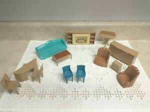 13 Piece Vintage Plasco Toy Dollhouse Miniature Furniture Fireplace Sofa Chairs