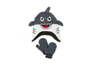 The Children Place Toddler Boys Shark Hat And Mittens Set Size 12/24 M NWT