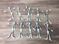 10X Flexible Skeleton Poseable Bendable White/Grey Toys Halloween Vintage