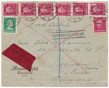 * 1927 GERMANY HOTEL EXPRESS COVER FEE PAID 6d CACHET TO HOUNSLOW MIDDLESEX