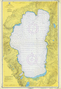 1951 Map of Lake Tahoe California Nevada