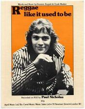 Paul Nicholas Reggae Like It Used To Be 1975 Sheet Music