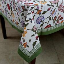 Handmade Floral Berry Print Cotton Square Tablecloth 60 x 60 Inch Red Pink Blue