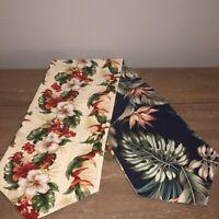 "Vintage 1940s Bark Cloth Fabrics Table Runner 58"" Tropical Reversible Handmade"