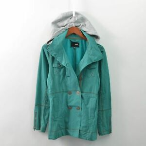 Hurley Peacoat Parka Hooded Button Up Green Teal Womens Medium M