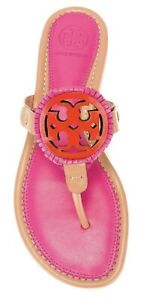 Tory Burch NEW Miller Fringe Dusty Cypress Pink Flat Sandals RUNS .5 SIZE SML 6M