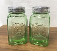 Green Uranium Vaseline Glass Embossed Salt & Pepper Shakers Hoosier Hazel Atlas