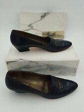 AMALFI Rangoni Womens Slip On Leather Flats Shoes Navy Size 9AAAA Design Dress