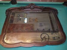Antique English Highly Carved Dark Oak Framed Beveled Wall Mirror EXTRA LARGE