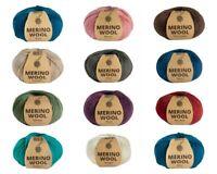 5x  Merino Wool Blend Knitting Yarn 50g 4ply Craft Solid Colours Yarn Bulk