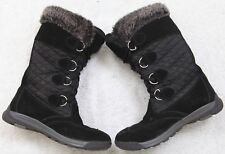 Black Boots Womens Eight 8B With The Fur Lands' End Winter 38.5 European Woman