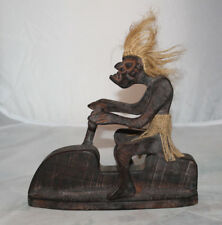Tiki Wood Figure Jet Ski Water Craft Primitive Carving Rustic Bar Beach Male