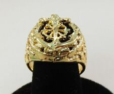 SIZE 11 MENS 14KT GOLD EP RELIGOUS ANCHOR MARINER CRUCIFIX CROSS RING