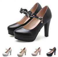 Elegant Women's Round Toe Ankle Strap Block High Heels Mary Janes Shoes 34/48 B