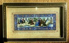 Vintage Persian Khatam Painting Inlaid Wood Frame Marquetry Hunting Horse Scene