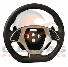 2016 C7 Corvette D Shaped Steering Wheel Automatic Leather Yellow Stitching