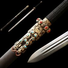 Hand Forged High Quality pattern steel Qin Sword Pure copper Fittings #5046