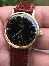 Vintage 9ct Yellow Gold Omega Deville Automatic Watch With Leather Strap In Box