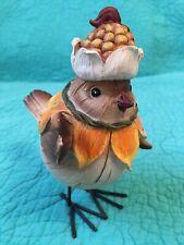 Folk Art Fall/Harvest Bird Figurine•Ear Of Corn Hat~Sunflower Scarf• Wire Legs