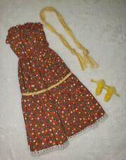Vintage Superstar Barbie Fashion Collectible #2783 Red Floral Dress Belt & Shoes
