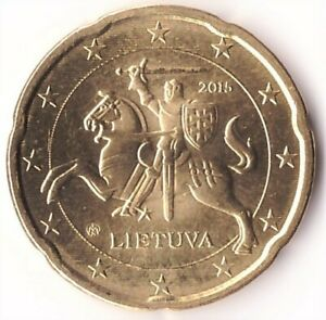 20 Euro Cent 2015 Lithuania Coin KM#209 UNC