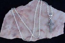 Tibetan Silver Cross, 925 Silver Plated Chain. Handmade In Gift Bag
