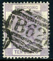 China 1882 Hong Kong 10¢ Dull Mauve QV Wmk CCA SG #36 VFU J585 ⭐⭐⭐⭐⭐⭐