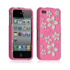 Housse étui coque rigide pour Apple Iphone 4/4S motif fleur couleur rose + Film