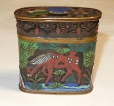 RARE 19TH CENTURY BRONZE CLOISONNE OPEN ENAMEL SMALL OPIUM BAT CANISTER JAR BOX