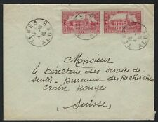 1940 Algeria Scott #98 pair - Tenes to the Red Cross in Switzerland