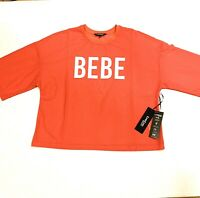 Bebe Sport Women's Shirt Mesh Athletic Performance Top Coral-Pink Size Large NEW