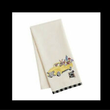 Pier 1 Imports Easter Embroidered Bunnies in Yellow Truck Tea Towel Black Check