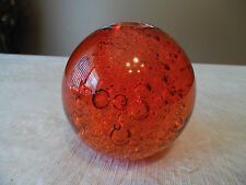 Orange Glass Round Ball Paper Weight Controlled Air Bubbles - 3""
